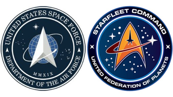 Trump Space Force logo next to Star Trek logo. Each features a spaceship with a swoop around it.