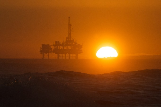 Sunset over Oil Rig, Huntington Beach CA